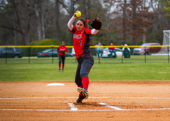 Senior Katy Messick pitched a complete-game shutout in Game 2 of Sunday's doubleheader at Methodist. Messick struck out eight, walked five and allowed just three hits in seven innings. She was also 2-for-4 with a RBI and a run. (Photo by Christopher Morgan)