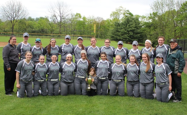 Keuka College Softball team with their NEAC North Division Regular Season Championship Trophy
