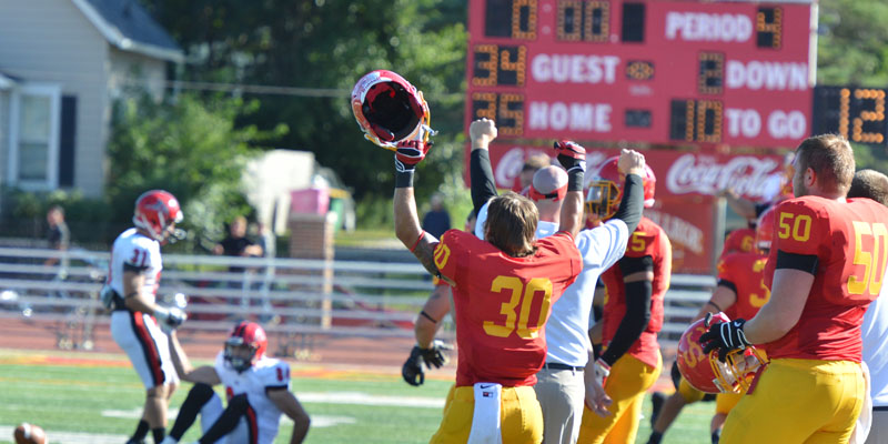 Simpson beat UW-River Falls 35-34 on Sept. 21, 2013. Taylor Nelson scored on a quarterback sneak with 22 seconds left to give Simpson the win after trailing by nine in the fourth quarter.