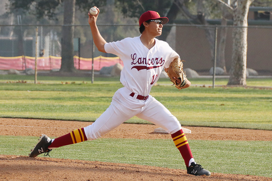 Lancer Matt Orozco allowed just four hits in seven innings in PCC's win over Fullerton Tuesday, photo by Richard Quinton.