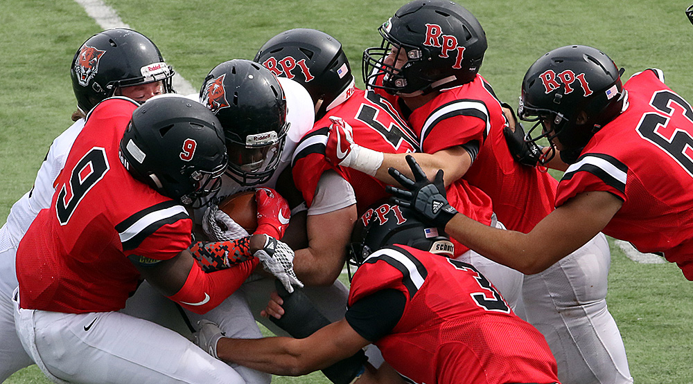 RPI defense (RPI athletics file photo by Mick Neal)
