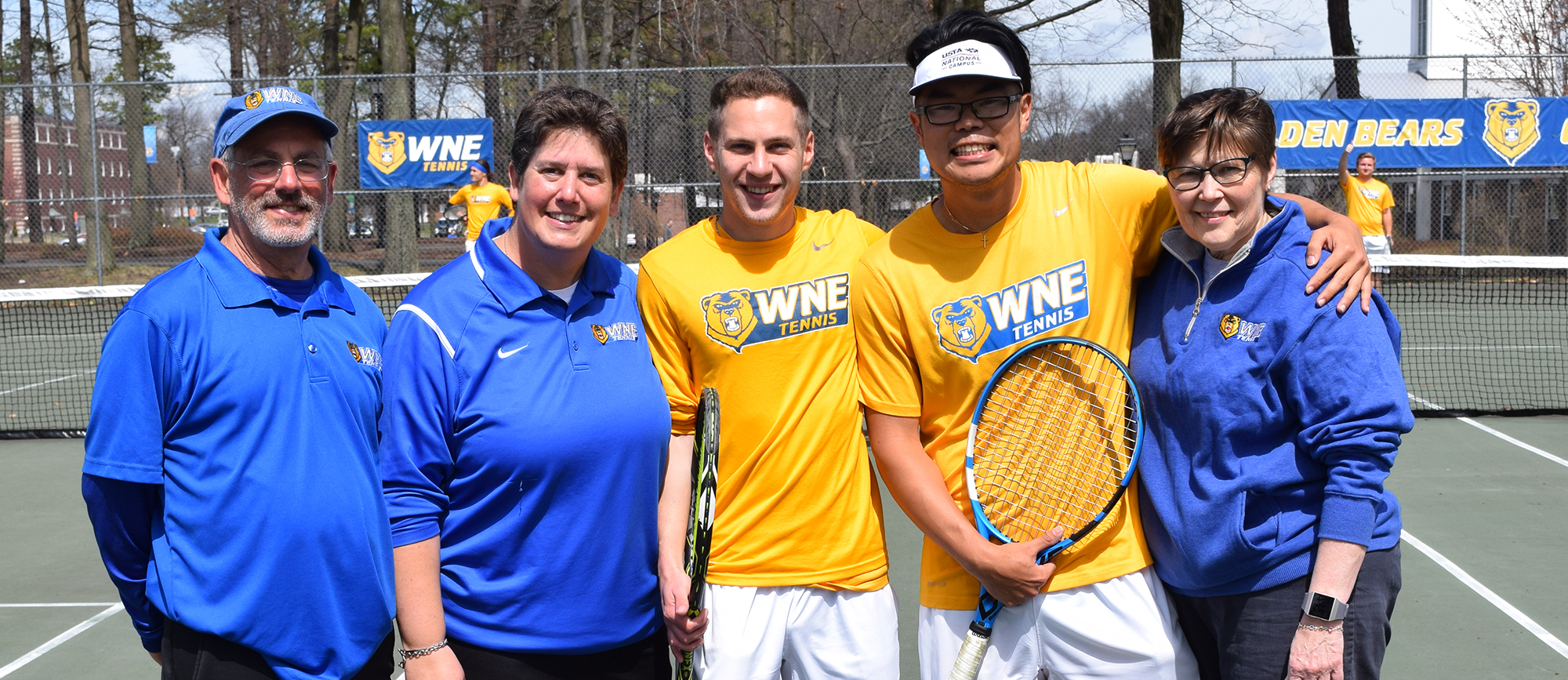 Seniors Justin Kohut and Michael Tran were honored before the start of Saturday's match against Endicott. (Photo by Rachael Margossian)