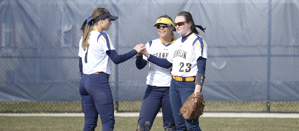 L-R: Lexi Gaffney, Monica Collins and Justice Carmichael are all back to patrol the Franklin outfield in 2019