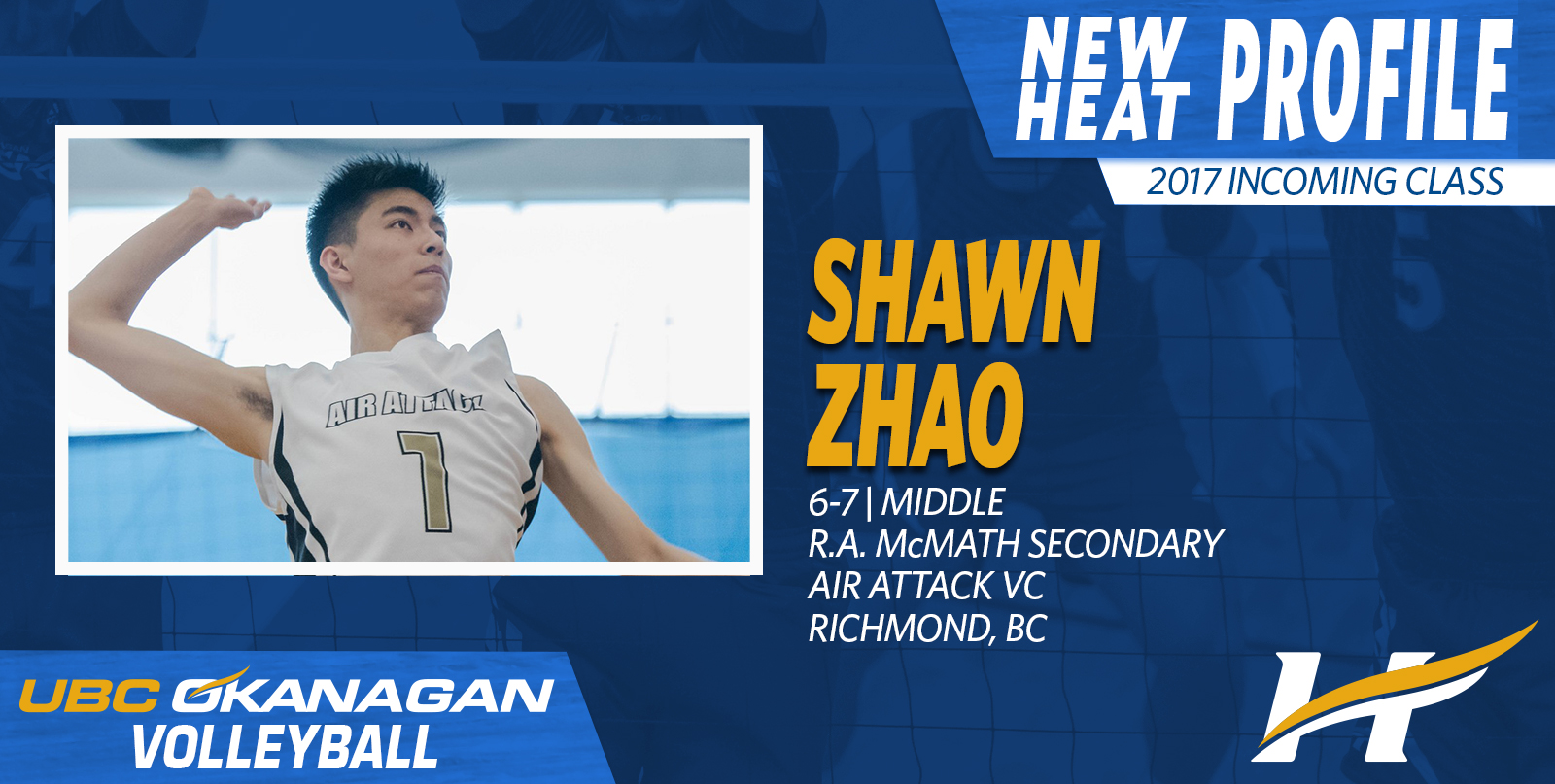 Heat men's volleyball sign Air Attack product Shawn Zhao