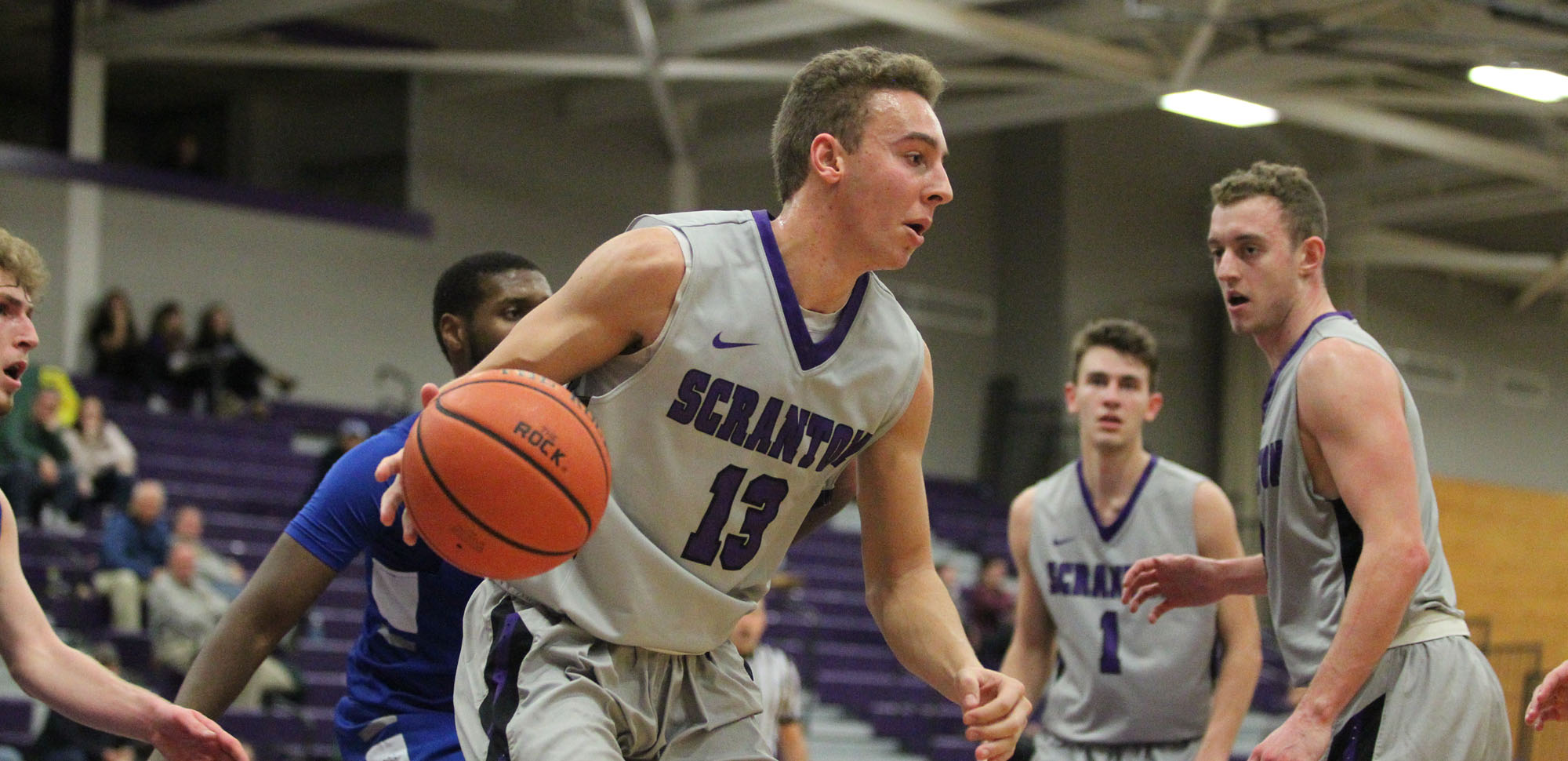 Logan Bailey scored a season and game-high 19 points including 17 in the first half on Saturday at Scranton won its Landmark Conference opener against Goucher.