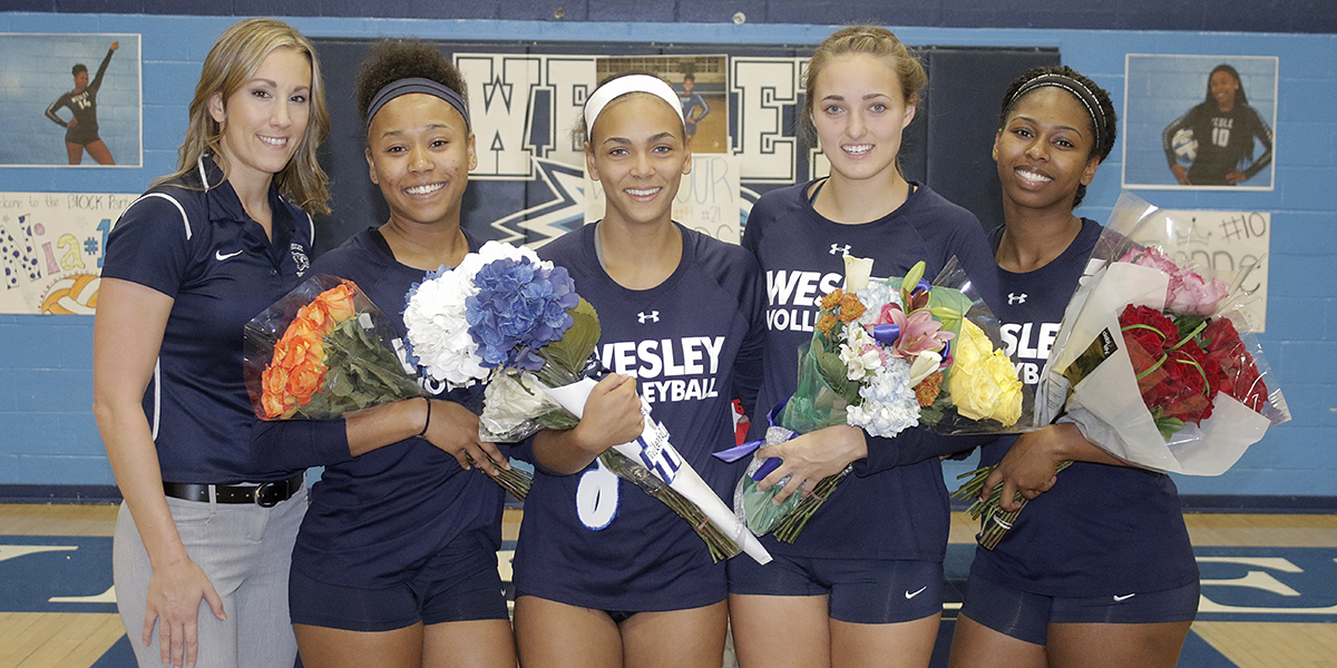 Volleyball rallies past Penn St.-Harrisburg on Senior Night