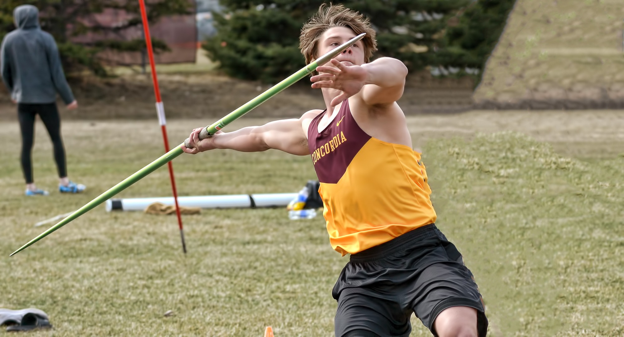 Junior Will Berning won the javelin at the St. Thomas Tomcat Open.