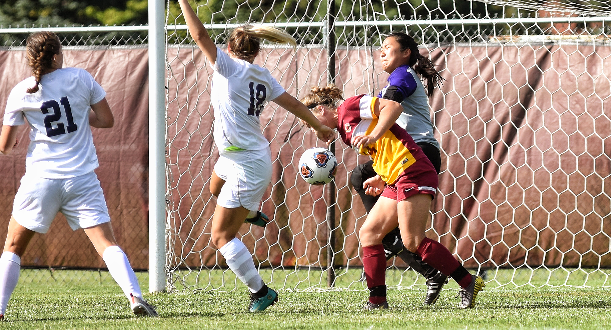 Junior Klara Beinhorn heads home the game-winning goal in the Cobbers' 3-1 victory over Northwestern.