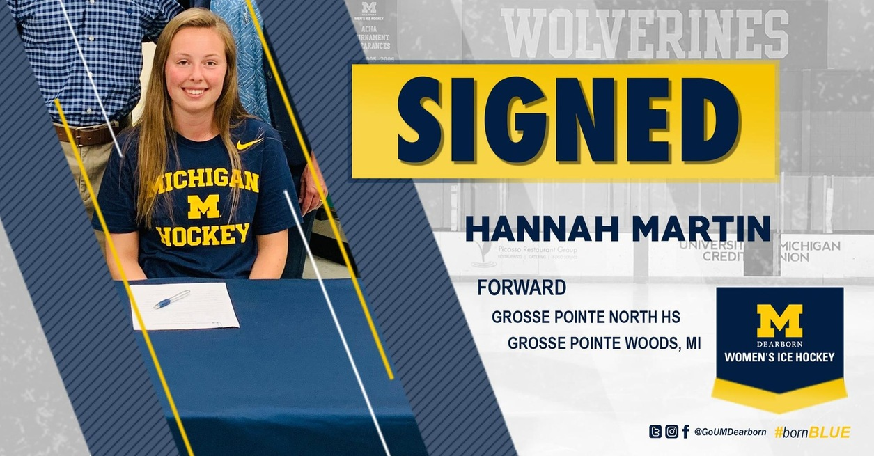 Martin signs with UM-Dearborn Women's Ice Hockey