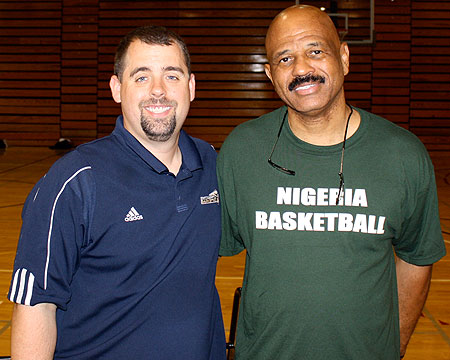 Gallaudet University men's basketball coach Jeb Barber with Nigeria men's coach John Lucas