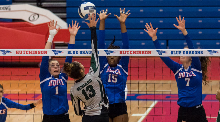 Blue Dragon Volleyball lost a four-set match to No. 6 Seward County on Wednesday at the Sports Arena. (Allie Schweizer/Blue Dragon Sports Information)