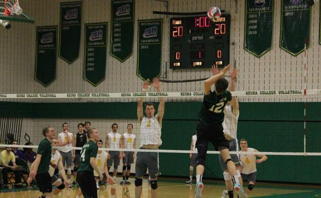 Freshman Tim Jackson (No. 12) and the Keuka College men's volleyball team fell to Medaille College in three sets to eliminate Keuka from EAC postseason considerations (photo courtesy of Megan Chase, Keuka College Sports Information department).