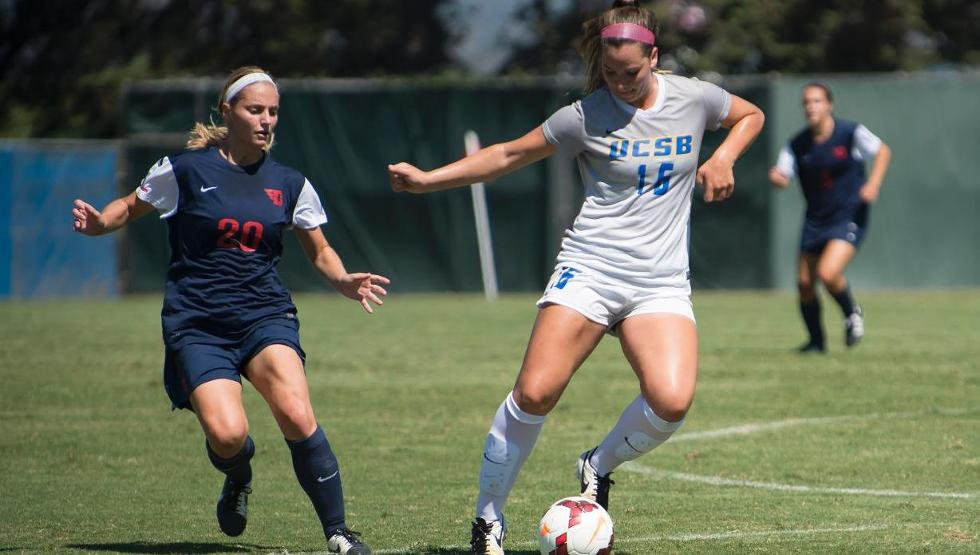 Sydney Magnin scored one of UCSB's two goals in a 4-2 loss at Cal State Fullerton on Thursday night. (Photo by Tony Mastres)