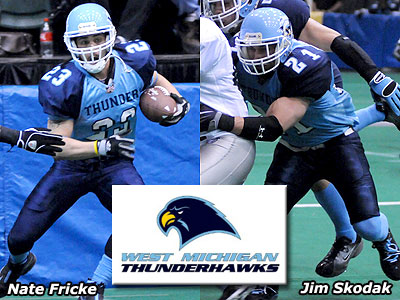 Former Bulldogs Nate Fricke & Jim Skodak are playing for the West Michigan ThunderHawks (Photos courtesy of West Michigan ThunderHawks)