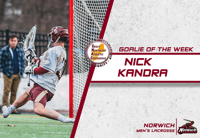 Men's Lacrosse: Kandra snags first career Goalie of the Week honor