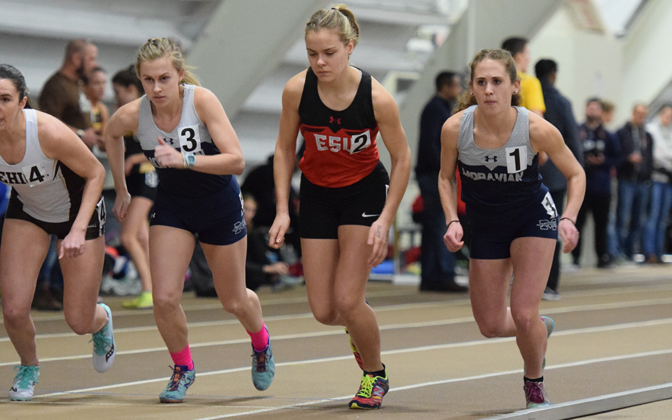 Katie Mayer and Molly Talarico start a race in the 2019 Moravian College Indoor Invitational at Lehigh University's Rauch Fieldhouse.