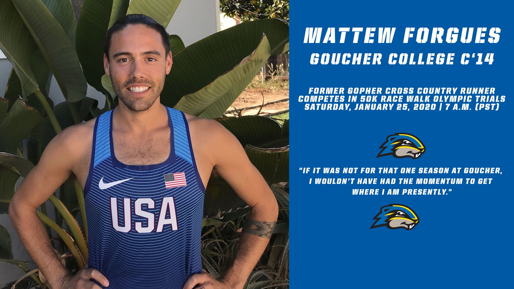 Former Cross Country Runner Matthew Forgues Attempts To Make USA Olympic Team In 50K Race Walk On Saturday