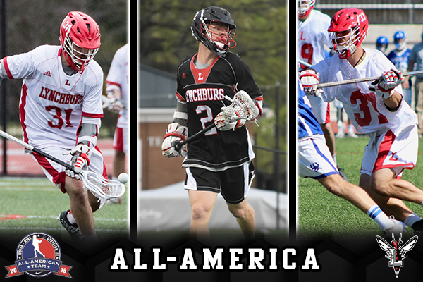 Action shots of three men's lacrosse players. Text: All-America. Logos: USILA All-America, Lynchburg Hornets.
