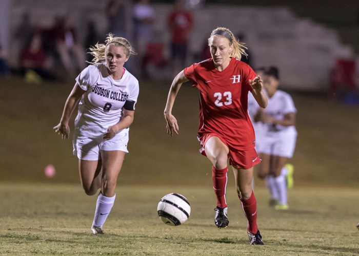 Meredith Harrison scored Huntingdon's goal in a 3-1 loss at Rhodes College on Wednesday night. (Photo by Lisa Pearson)