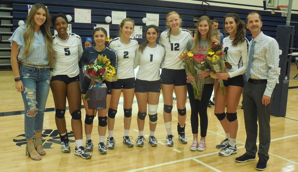It was volleyball Sophomore Night in Pima's final match of the 2017 season. The Aztecs fell to Mesa Community College in straight sets to finish the season at 7-18 overall. (Left to right): Assistant coach Allison Rosas, Victoria Davis, Anissa Conrad, Kayli Riesgo, Gianni Romero, Jamie Ricksecker, Elyse Weber, Kylee Ashment and Head Coach Dan Bithell. Photo by Raymond Suarez