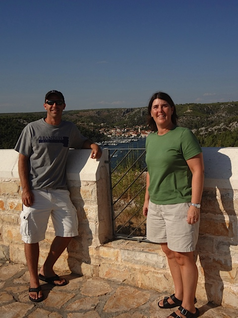 Associate Director of Athletics Tom Rand and Director of Athletics Sheryl Sousa stretch their legs on the last portion of Day 1 of the Croatia trip.