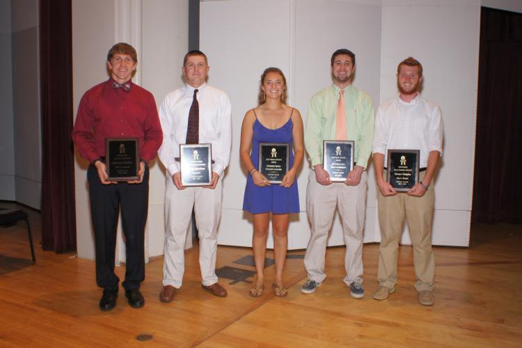 2014-15 Athletics Award Winners (Huckins, Morrison, Keene, McCarthy, Votipka) Photo by John Bell (www.touchalifephotography.com)