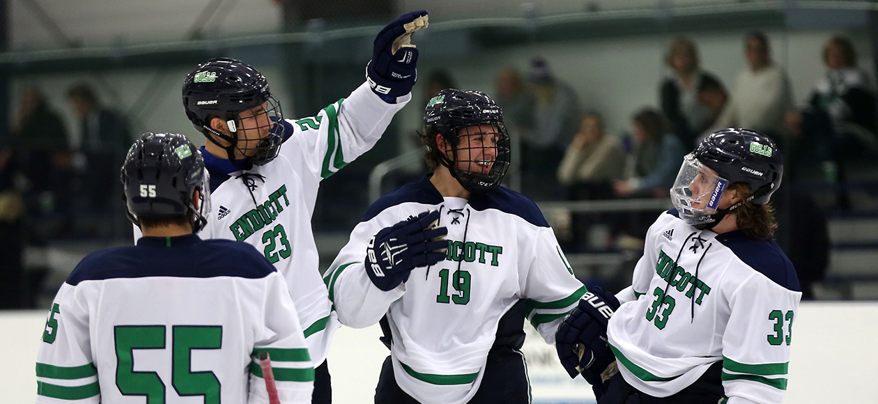 Cam Bleck, Ross Olsson, Logan Day, and Tommy Besinger celebrate a goal.