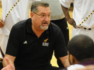 Head coach Jeff Ruland has the UDC men's basketball team off to a 14-2 record in his third season at the helm.