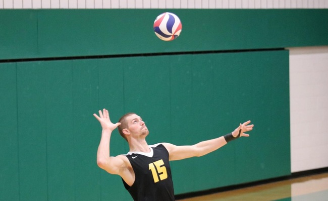Connor Gail (15) led Keuka College with 22 total kills on Saturday -- Photo by Tom Reynolds