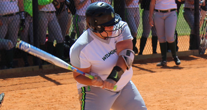 Freshman Jillia Cook reached base seven times today in the Wilmington softball doubleheader.