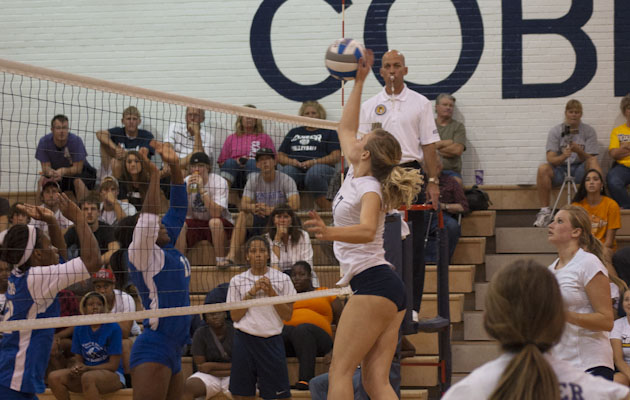 Coker Volleyball Falls to Queens in Straight Sets