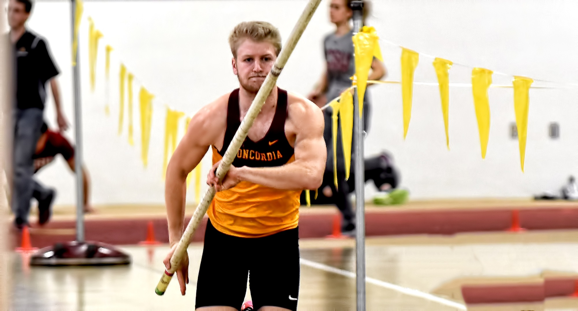 Matt Bye posted the top height in the pole vault in the MIAC heptathlon which helped him earn his second straight conference indoor multi-event crown.