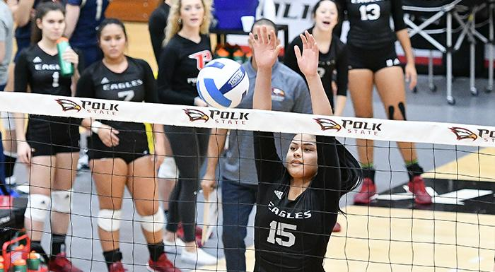 Nayeli Vilchez (15) made 46 assists in two matches as the Eagles went 2-0 on the final day of the Lee College Invitational in Baytown, Texas. (Photo by Tom Hagerty, Polk State.)