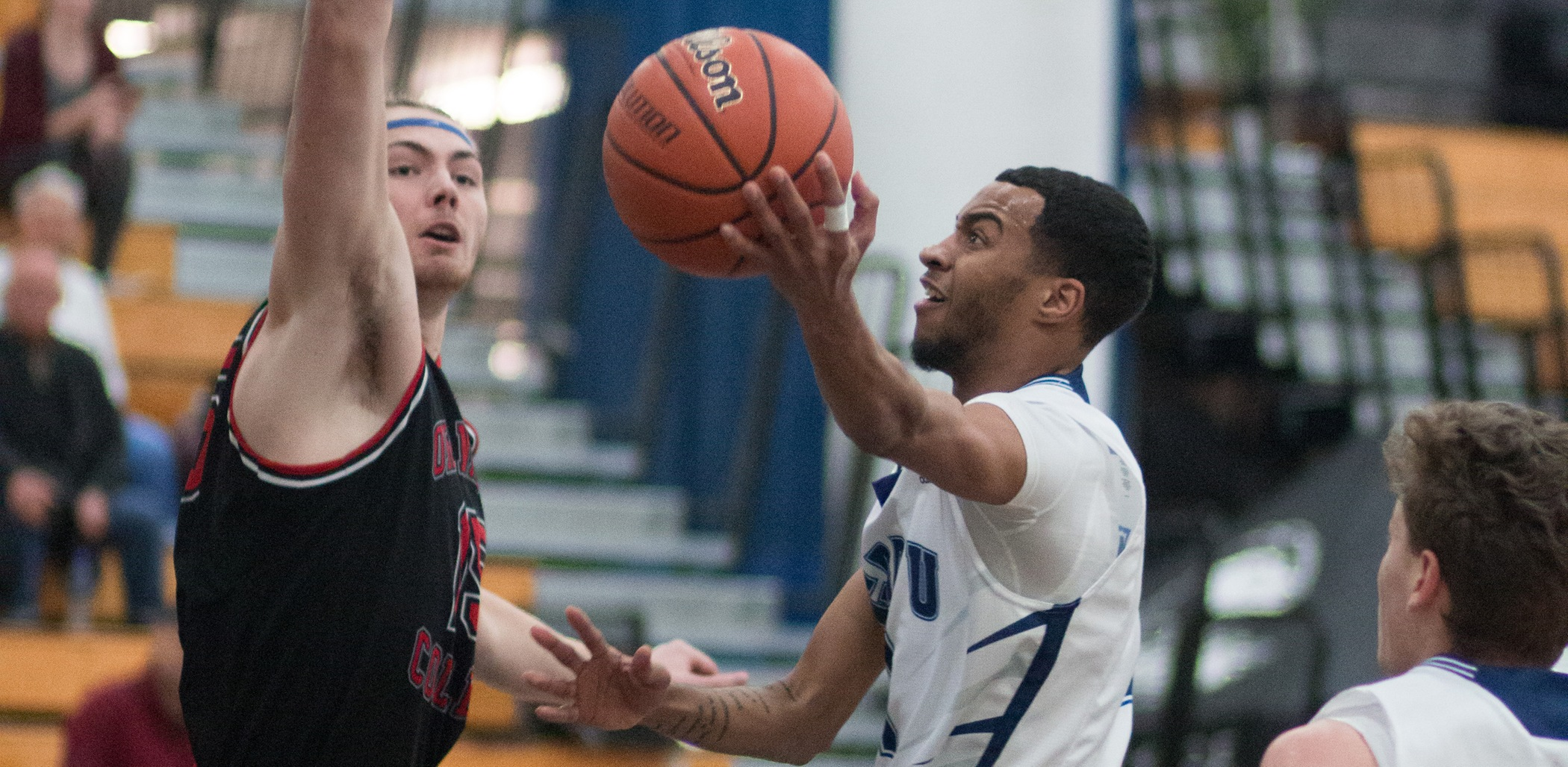 Brenden Bailey had 29 points and was named Player of the Game for CapU. Photo courtesy Douglas College