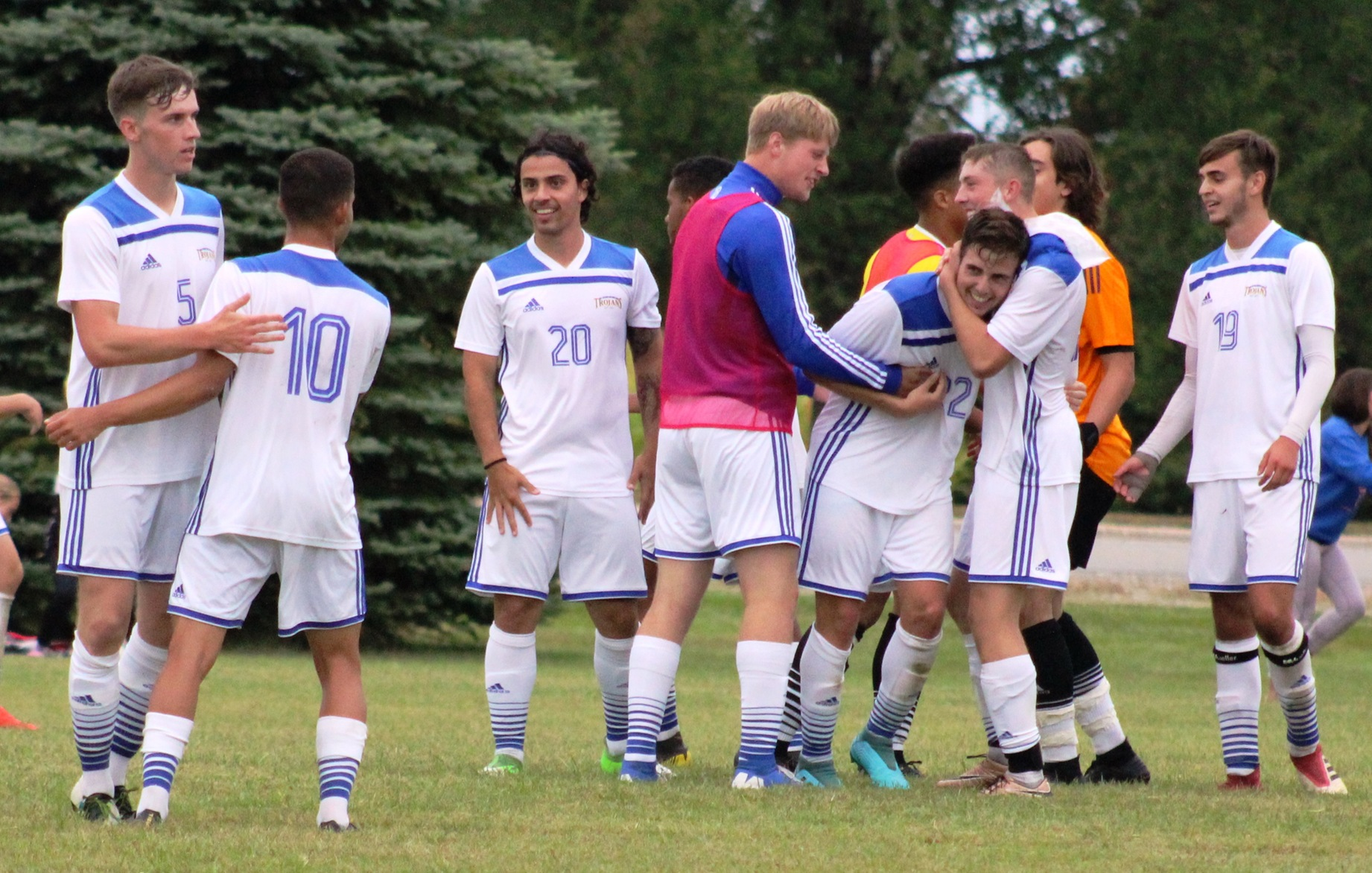 NIACC players celebrate after a hard-fought 2-1 win over Hawkeye CC on Saturday.