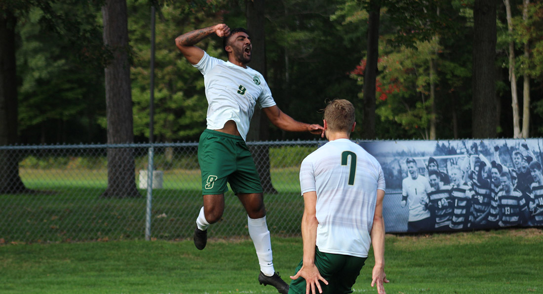 Darren Appanah celebrates the game winner in Tiffin's 1-0 win at Northwood.