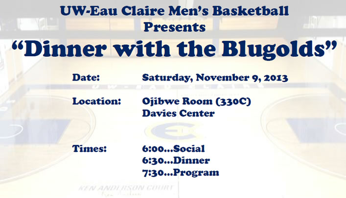 Dinner with the Blugolds - Nov. 9 at 6 p.m. in Davies Center