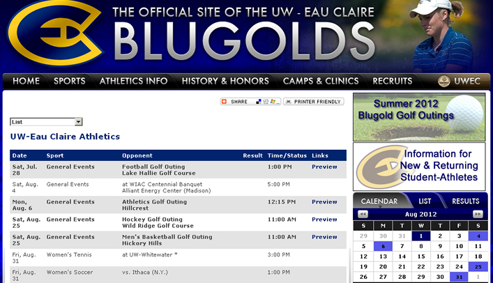 Blugolds' 2012-13 Schedules Now Available