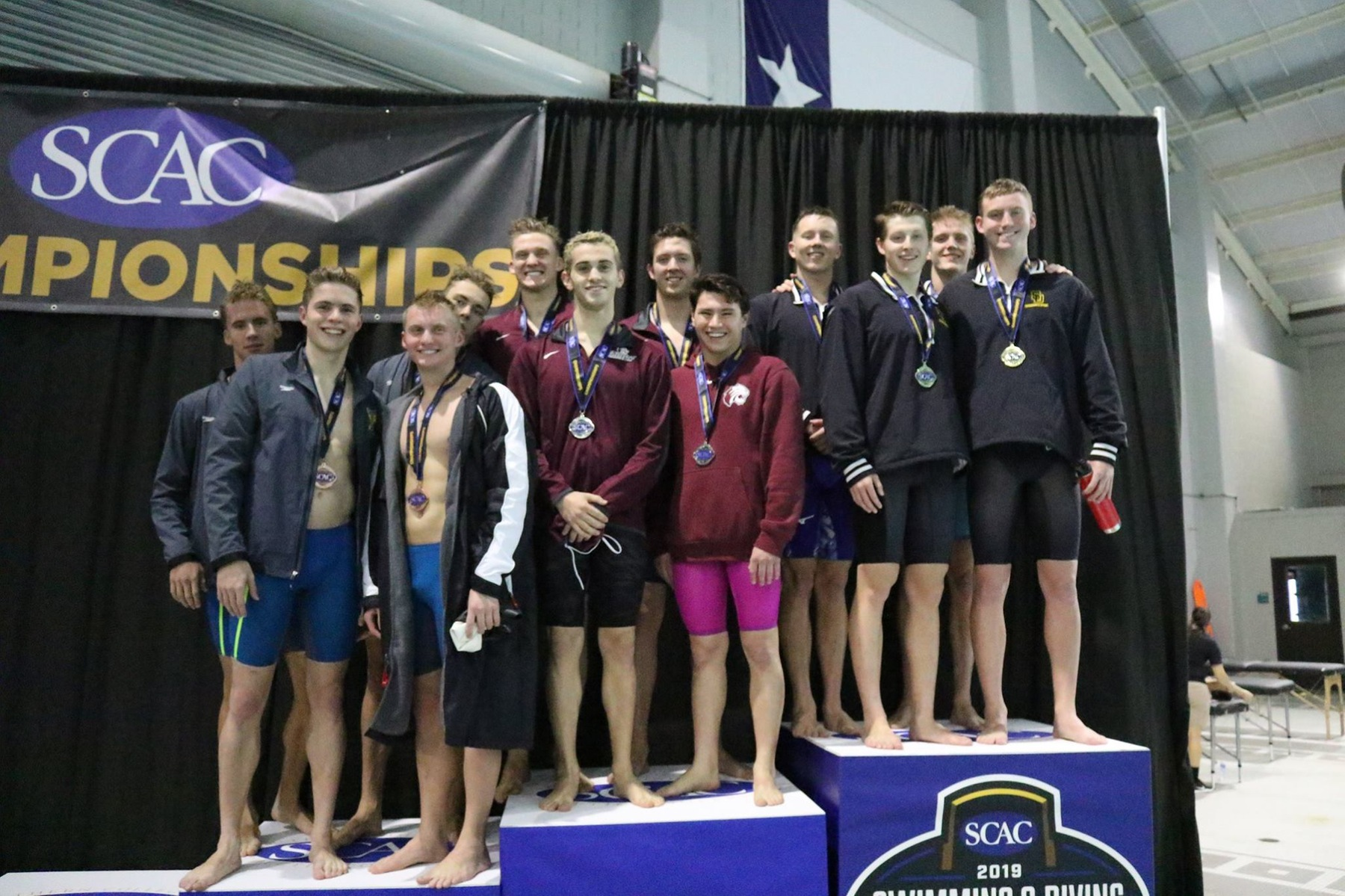 Men's Swimming Wins Both Relays in First Day of SCAC Championship Meet