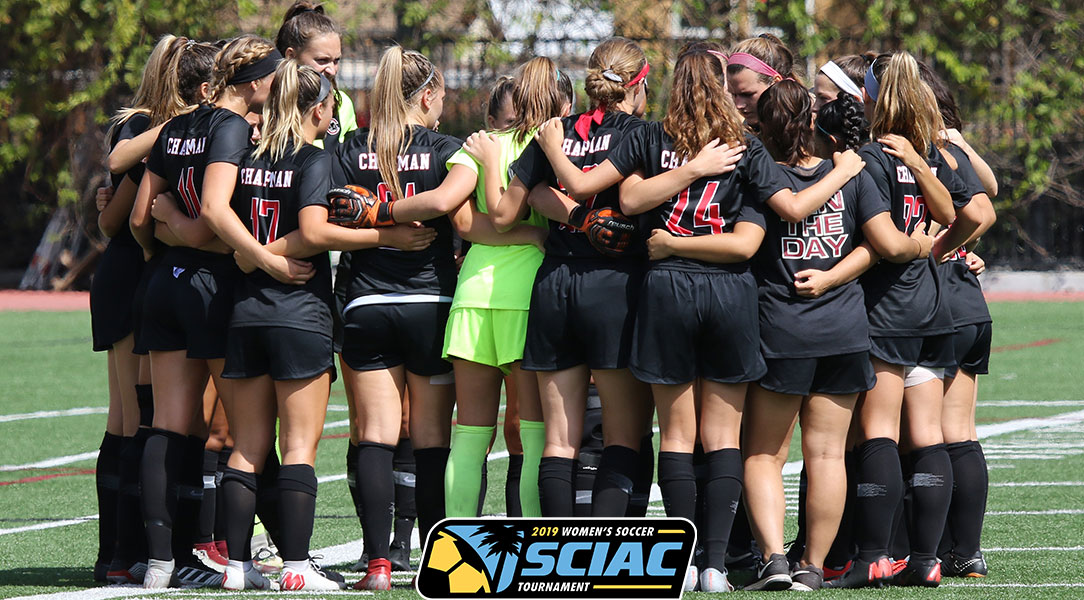 The Chapman women's soccer huddles before a game.
