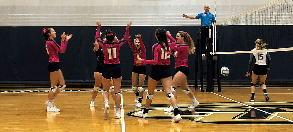 Gallaudet Bison celebrate a point in a match against Wooster in the Field House. GU is wearing special pink jerseys!