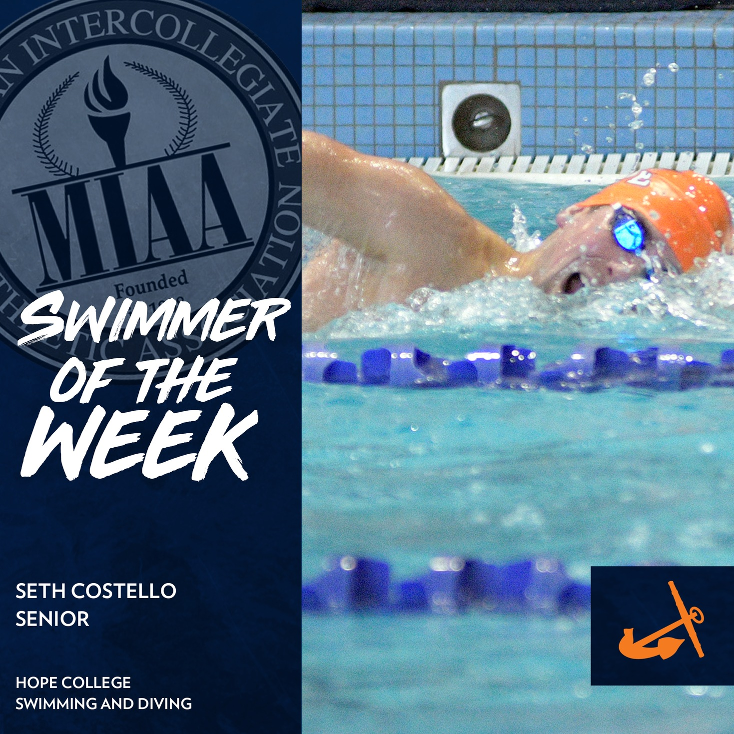 Seth Costello swims a freestyle event