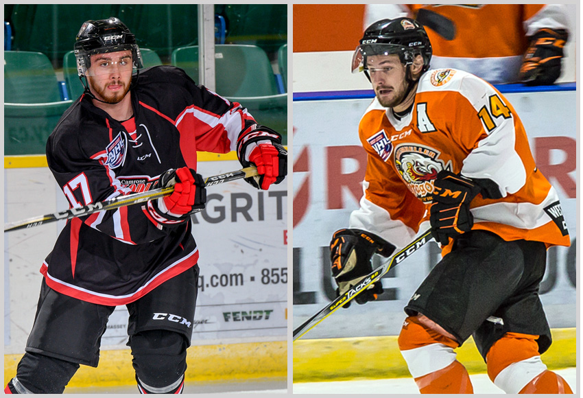 Defenceman Cale Chalifoux, left, of the Camrose Kodiaks and forward Jordan Taupert of the Drumheller Dragons will join the MacEwan Griffins for the 2019-20 ACAC season (Photos: Courtesy of Kodiaks and Dragons - Sean Mascaluk, Pro Sports Photography, left, and Athena Winchester, Broken Curfew Photography, right).