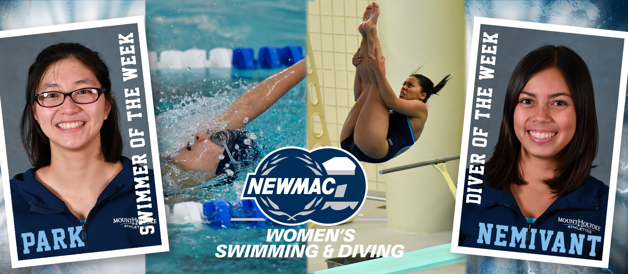 Image depicting the NEWMAC Swimmer of the Week, Jacqueline Park and the NEWMAC Diver of the Week, Samantha Nemivant - who were named on February 11, 2019.