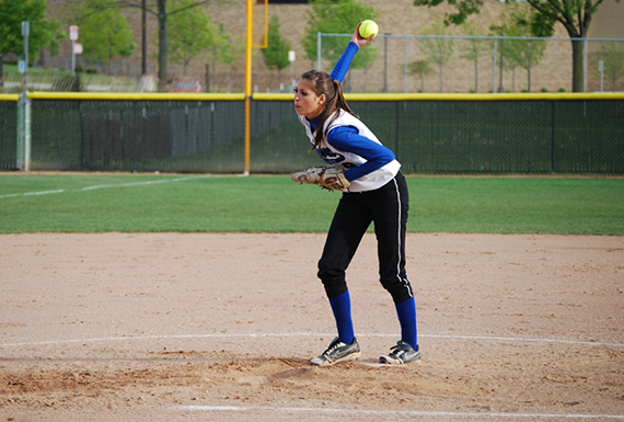 The NACC's all-time leader in strikeouts, Aurora's Anna Snyder.