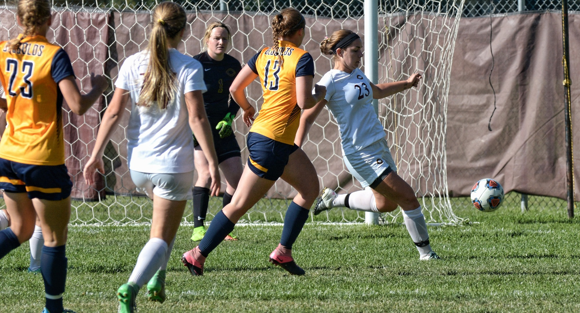 Junior Kirsten Bokinskie clears the ball away from the Cobber goal in Concordia's with Wis.-Eau Claire