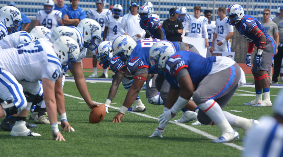 The Blue Dragon Football Team opens the 2017 Football Season at Noon Saturday at Gowans Stadium against the Coffeyville Red Ravens. (Andrew Carpenter/HCC Sports Information)