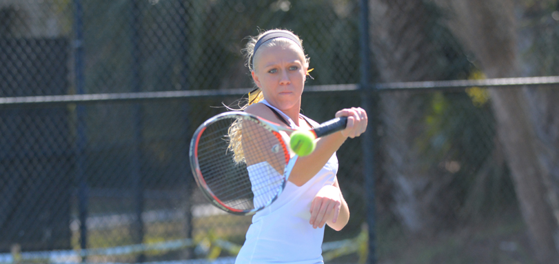 Senior Academic All-OAC player Kelly Peskura won her No. 5 singles match against Wooster