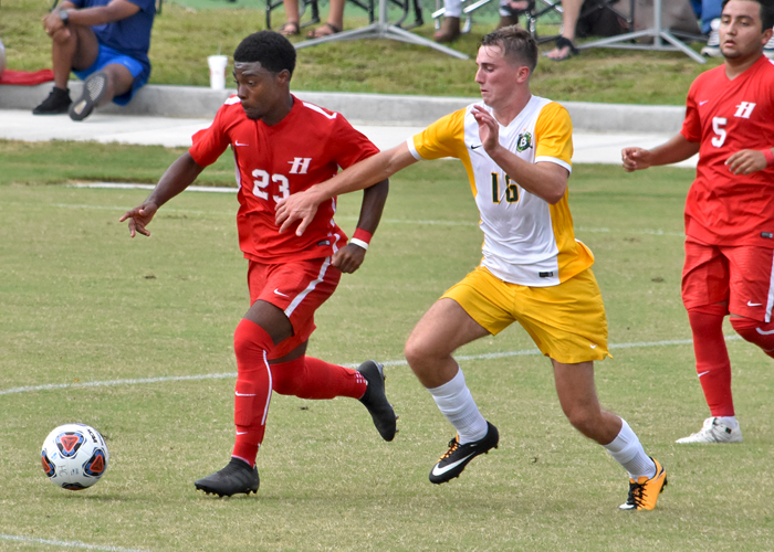 Kalen LeBlanc (#23) took two shots on goal for the Hawks' in Friday's loss to Belhaven.