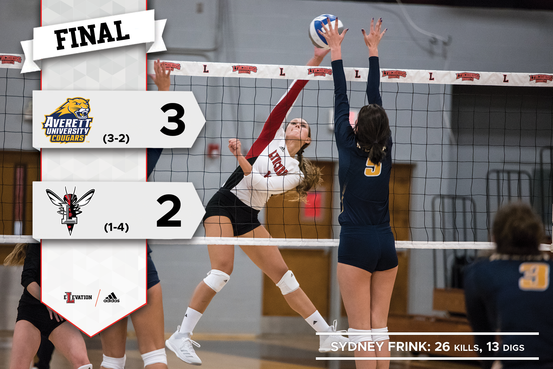 Sydney Frink swings at a volleyball in a game. Graphic showling 3-2 final score and Lynchburg/Averett logos.